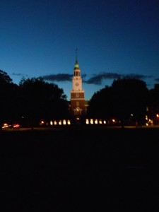 The Dartmouth campus at night