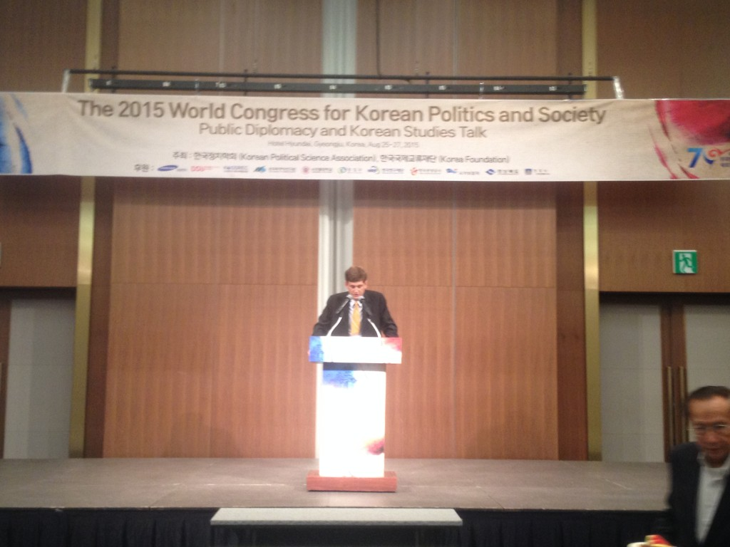 Brandon Gauthier at the World Congress for Korean Politics and Society, August 2015
