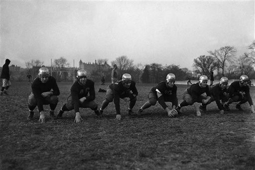 The Varsity line of the Fordham University football team is shown in 1936. Photo from NewsDay