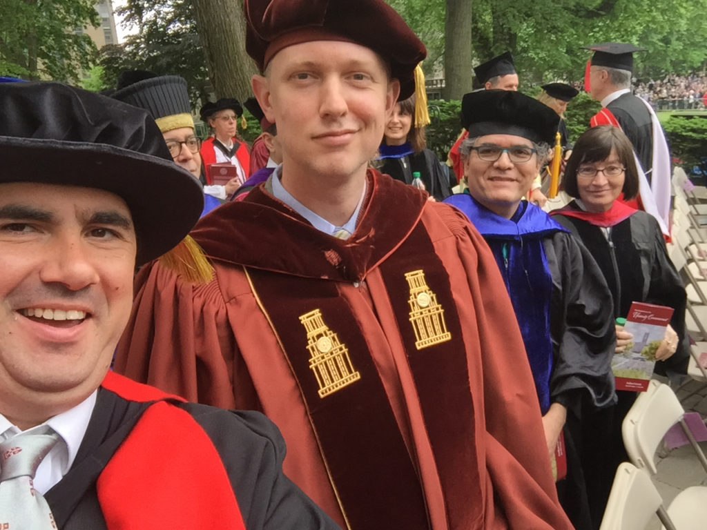 Faculty selfie: (l-r) Professors Nicholas Paul, Christopher Dietrich, Sal Acosta, and Silvana Patriarca