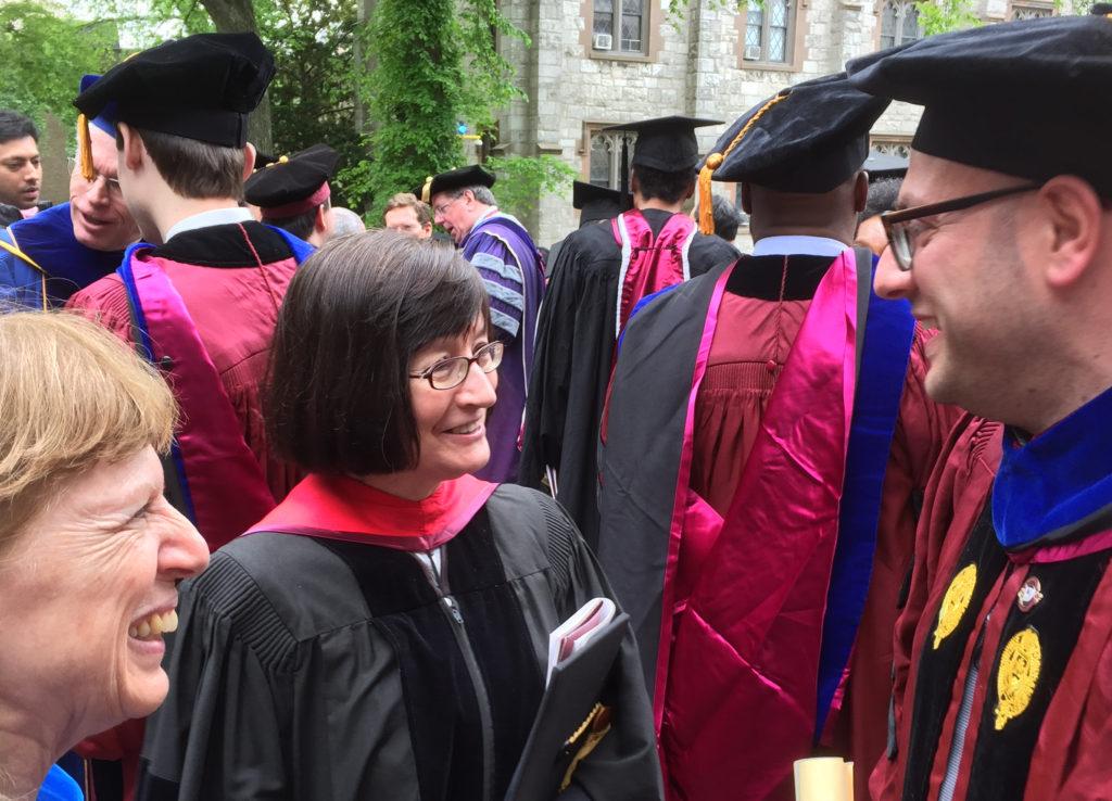 (l-r) Professors Silvana Patriarca and Rosemary Wakeman congratulating Dr. Alessandro Saluppo