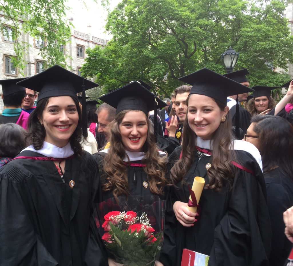 Three medievalists. History MAs who specialized in the Middle Ages Nicole Scotto and Tatum Tullis (l and r, respectively) flanking Medieval Studies MA Anna Lukyanova