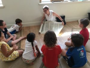 Professor Magda Teter introduces school children in Harlem to the history of the book